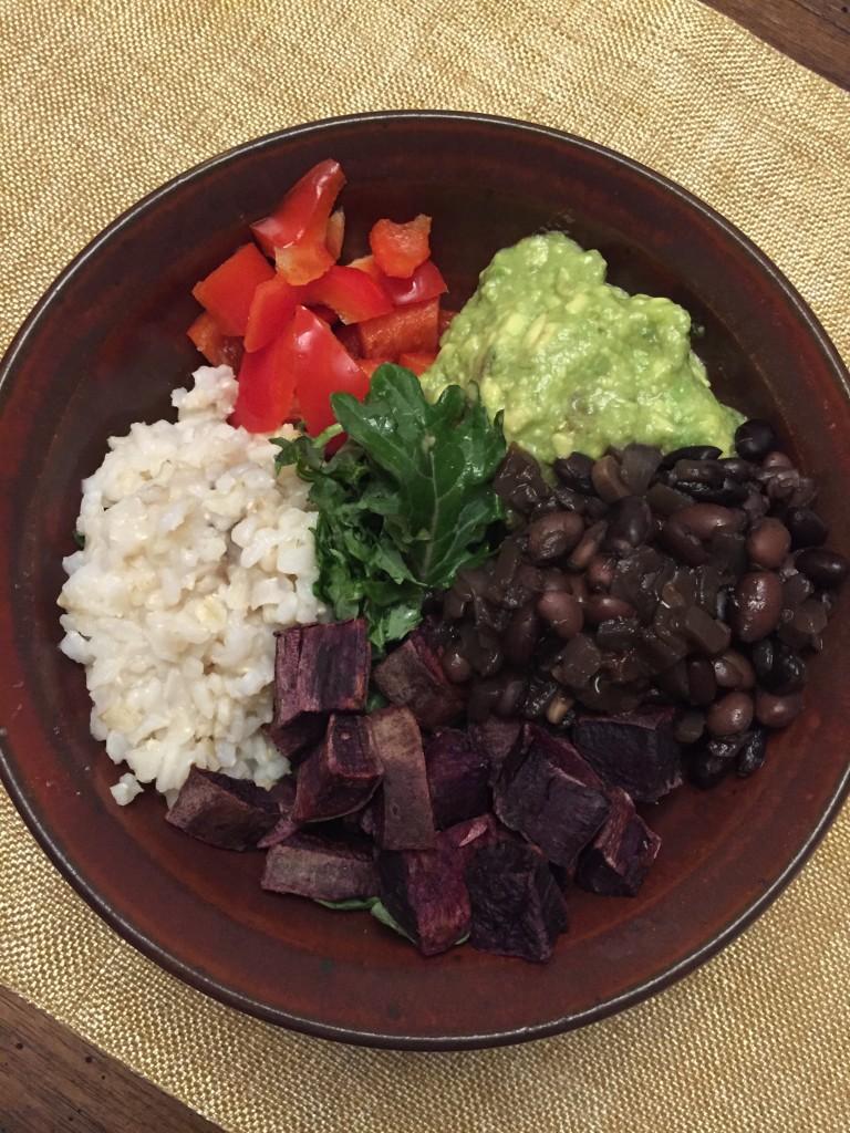 Black bean sweet potato guacamole bowl
