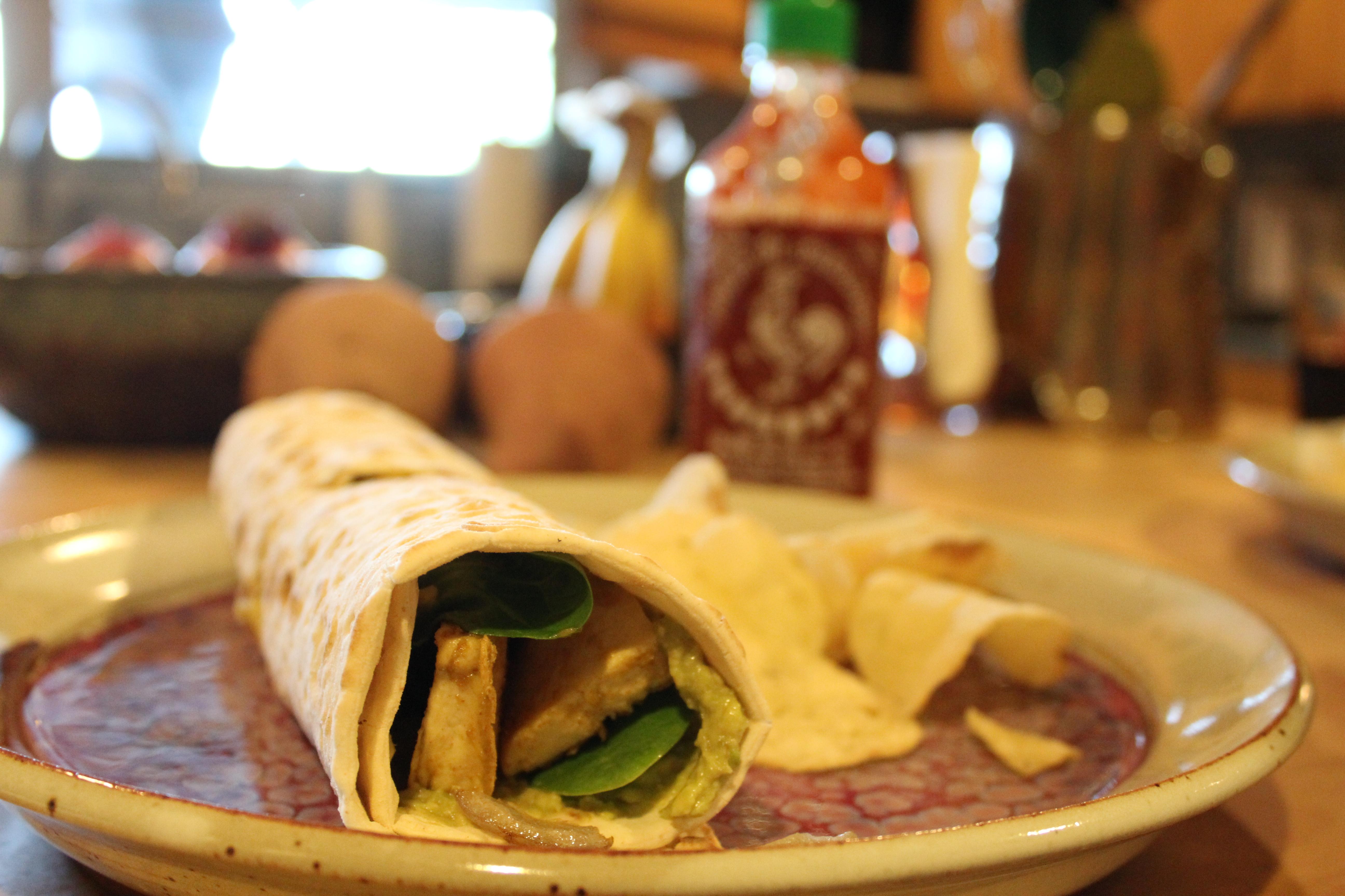 Tofu Cheesy Sriracha Wrap
