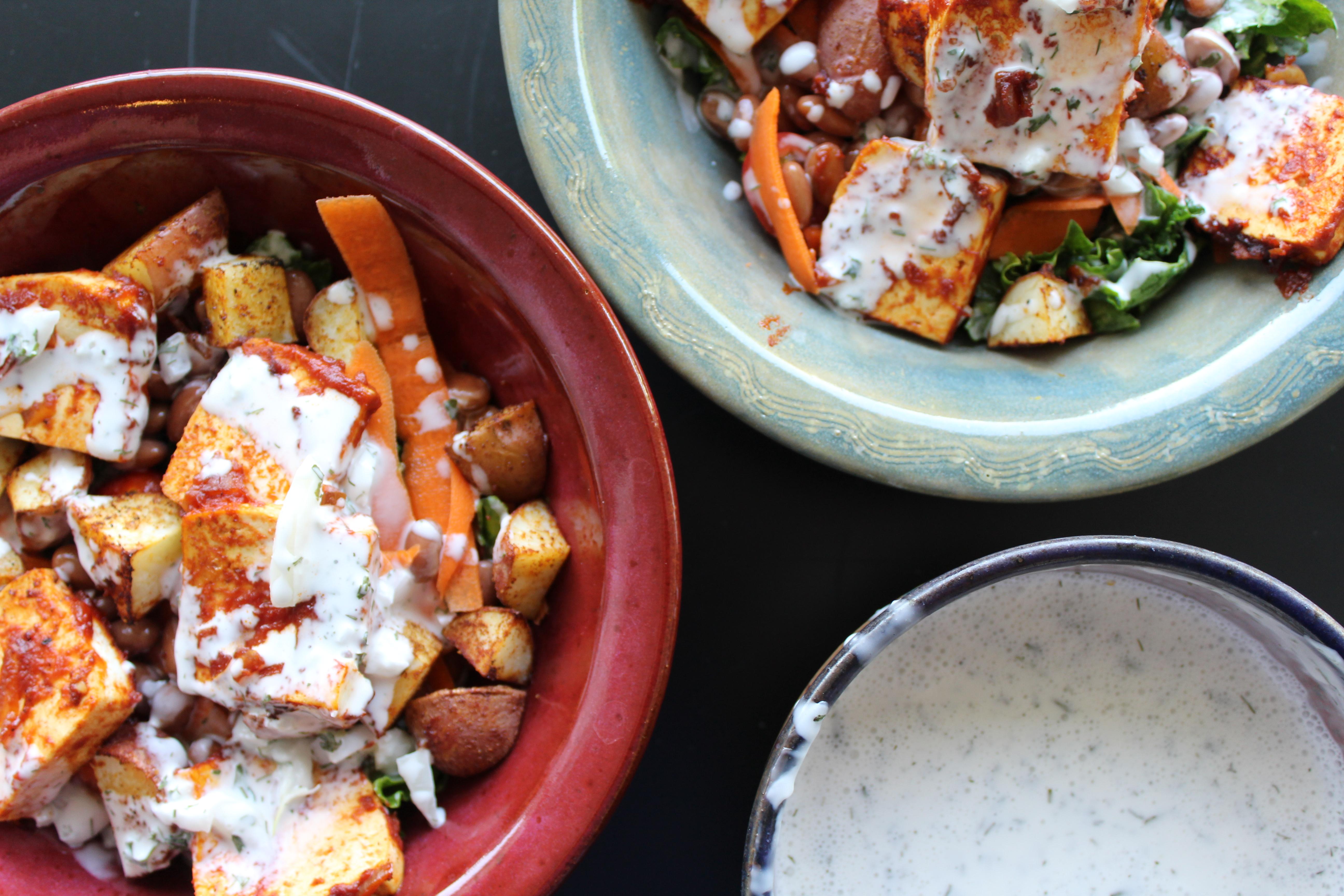 Vegan BBQ Tofu with Vegan Ranch Dressing