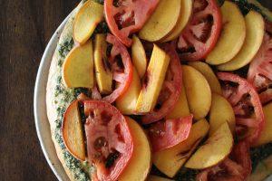 Peach Tomato Pesto Pizza