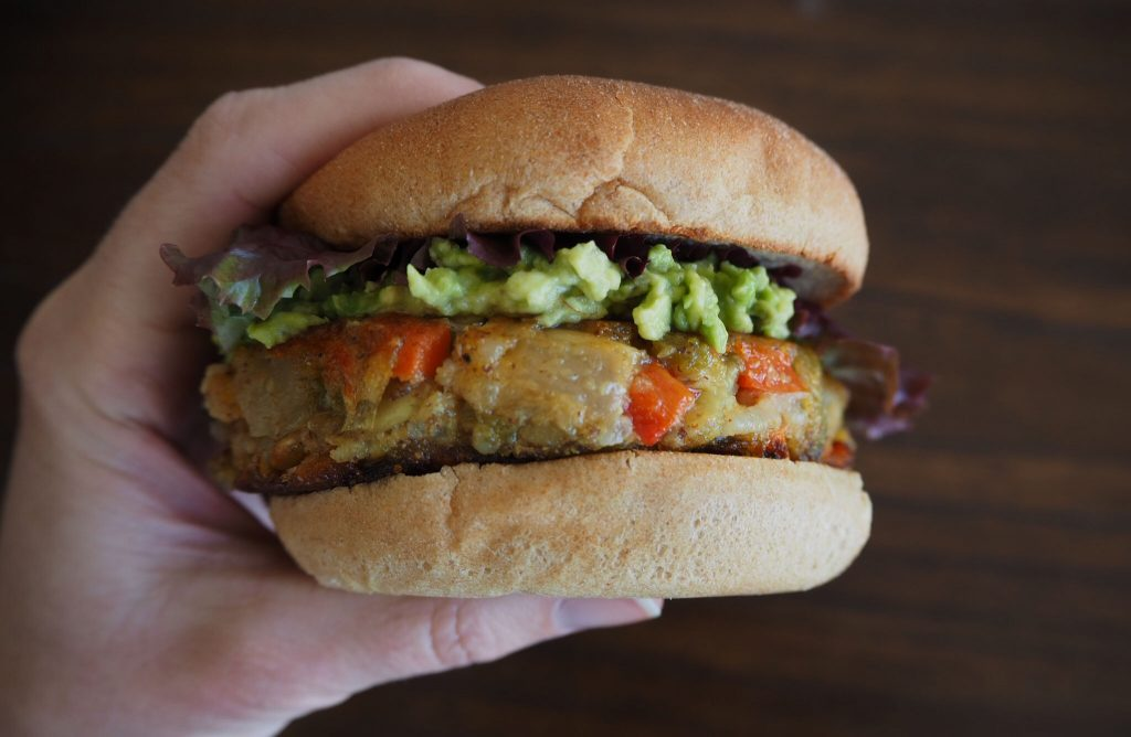 Sweating over Hatch Chile Veggie Burgers