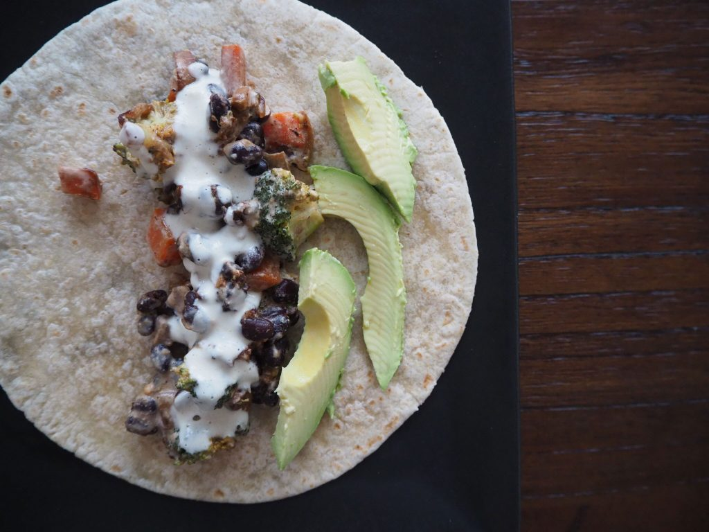 Baptiste Blind Spot Broccoli and Black Bean Tacos